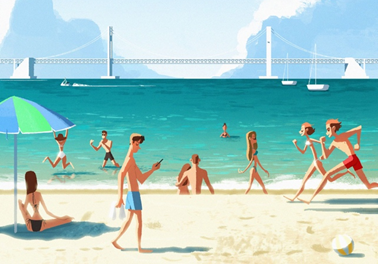 Illustration of people at the beach