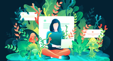Illustration of someone sitting and working on a computer